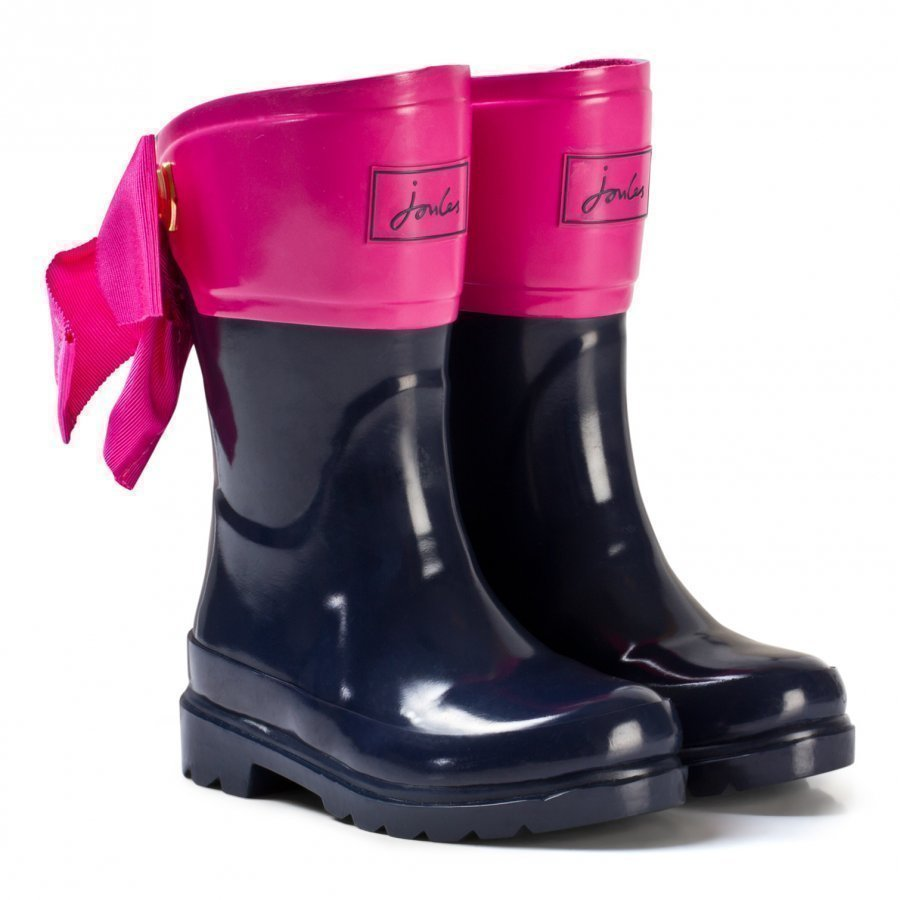 Tom Joule Navy And Pink Bow Detail Wellies Kumisaappaat