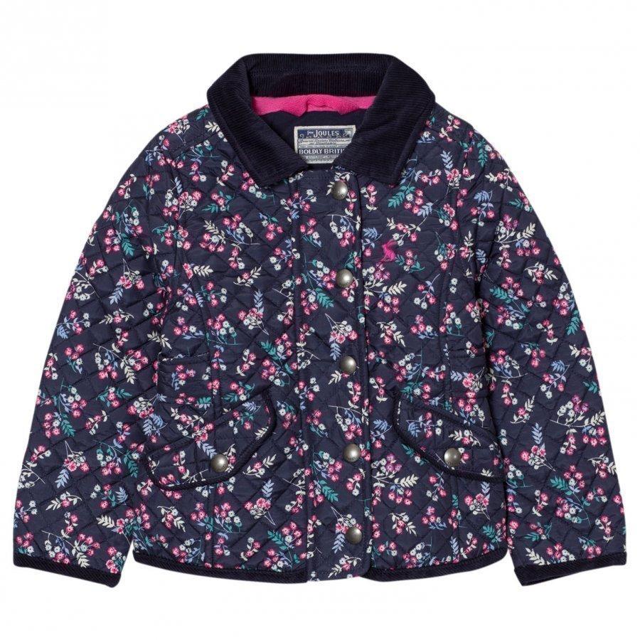 Tom Joule Navy Floral Print Quilted Jacket Tikkitakki