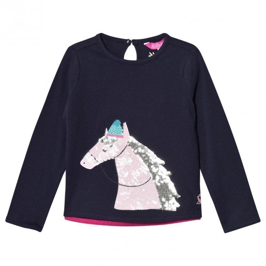 Tom Joule Navy Sequin Horse Print Tee Pitkähihainen T-Paita