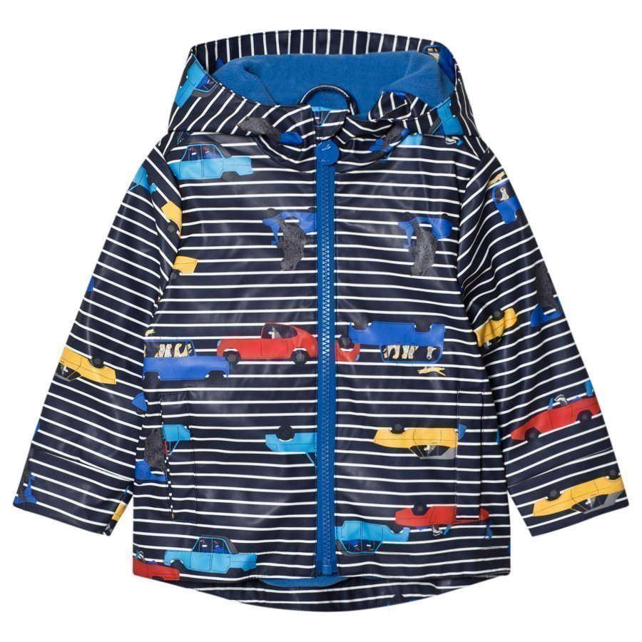 Tom Joule Navy Stripe Car Print Hooded Raincoat Sadetakki