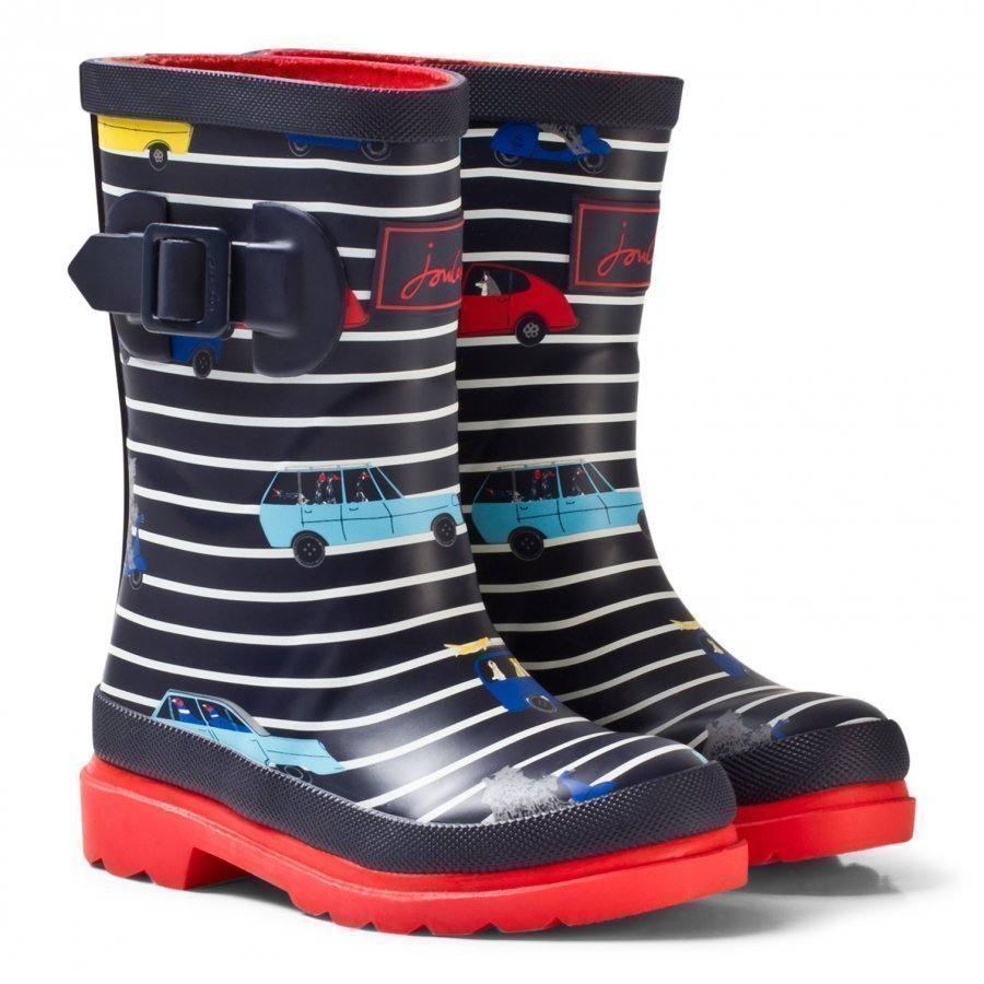 Tom Joule Navy Stripe Cars Print Rain Boots Kumisaappaat