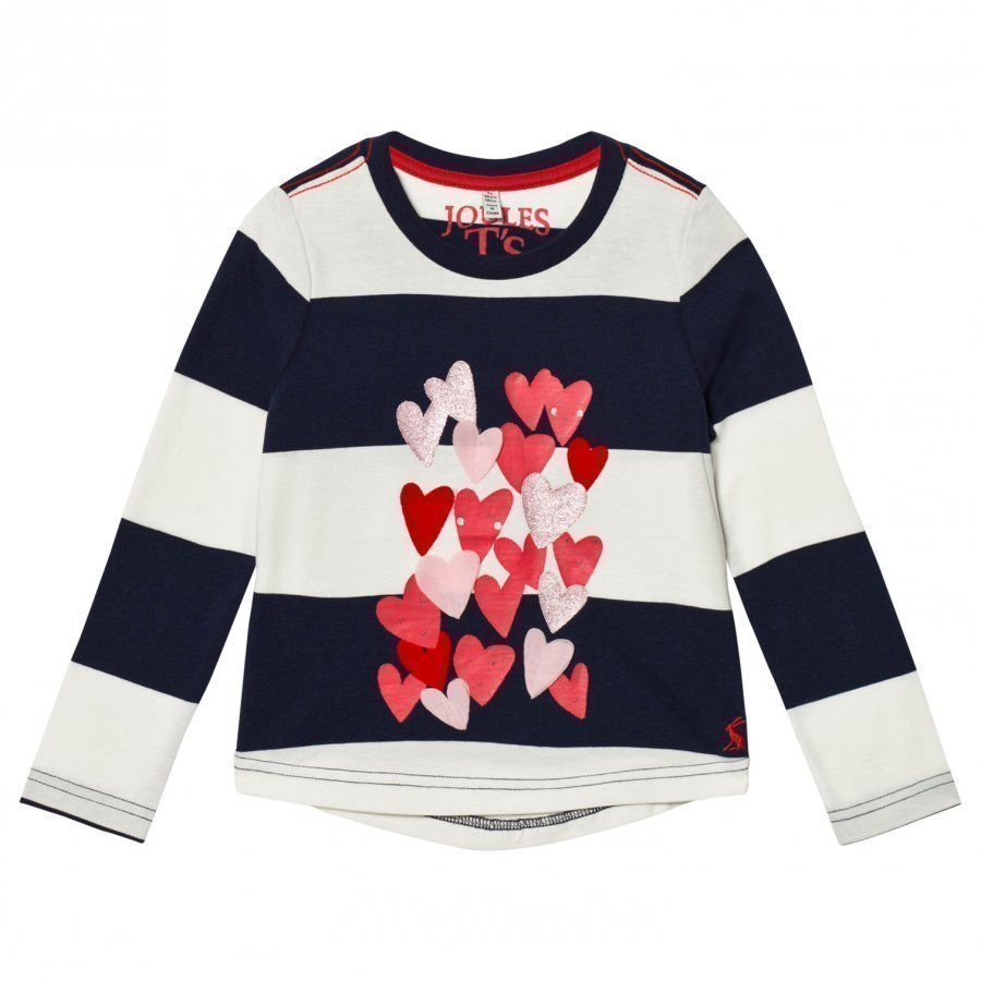 Tom Joule Navy Stripe Heart Print And Applique Long Sleeve Tee Pitkähihainen T-Paita