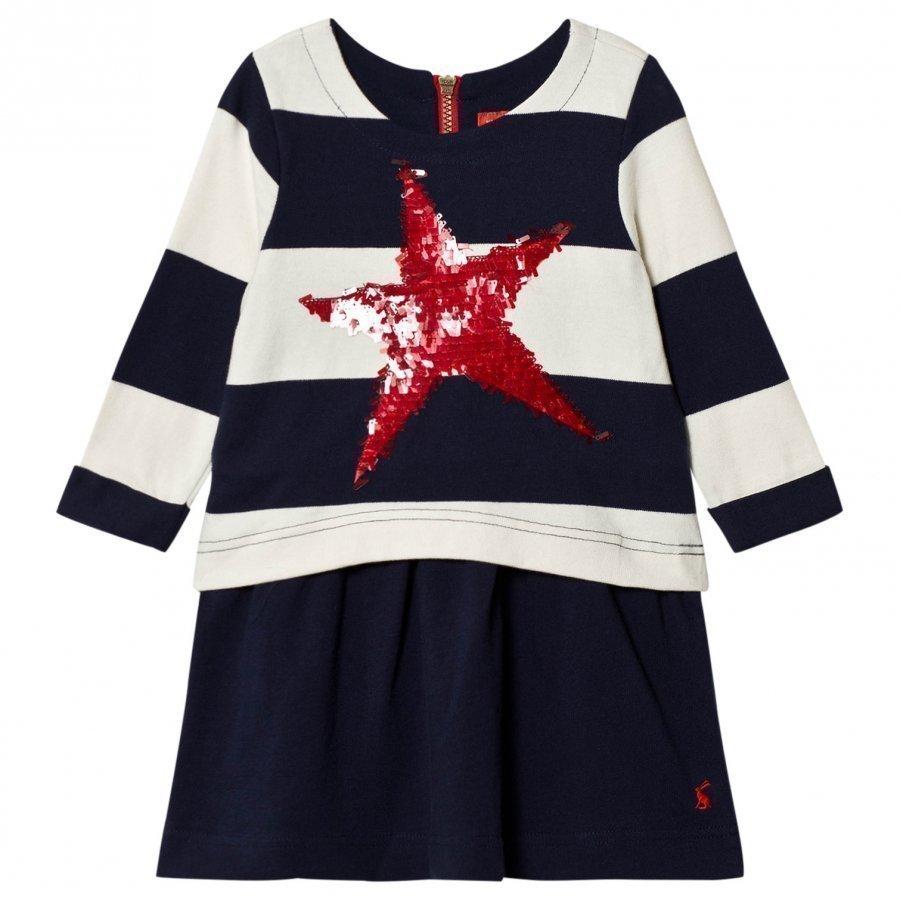 Tom Joule Navy Stripe Jersey Dress With Sequin Star Mekko