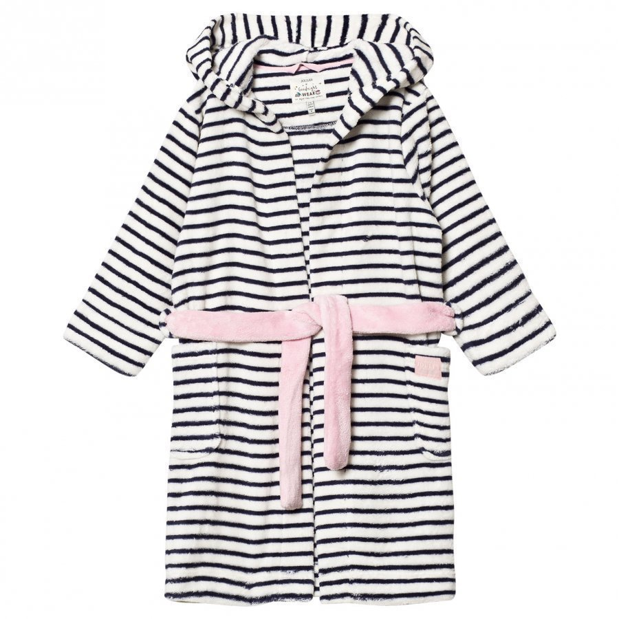 Tom Joule Navy/White Stripe Fleece Robe Kylpytakki