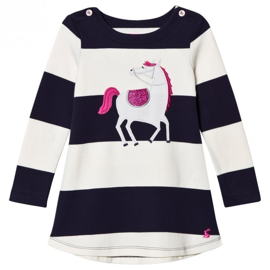 Tom Joule Navy/White Stripe Horse Applique Dress Mekko