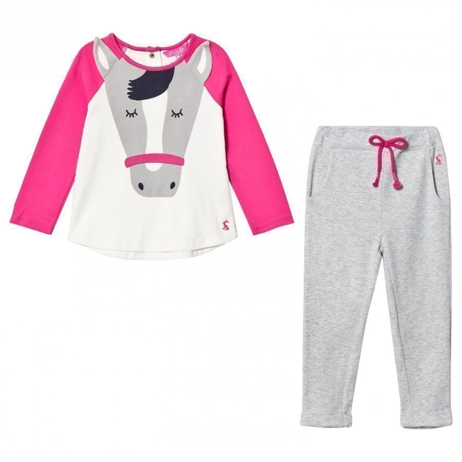 Tom Joule Pink And Cream Horse Applique Tee And Trousers Set Asusetti