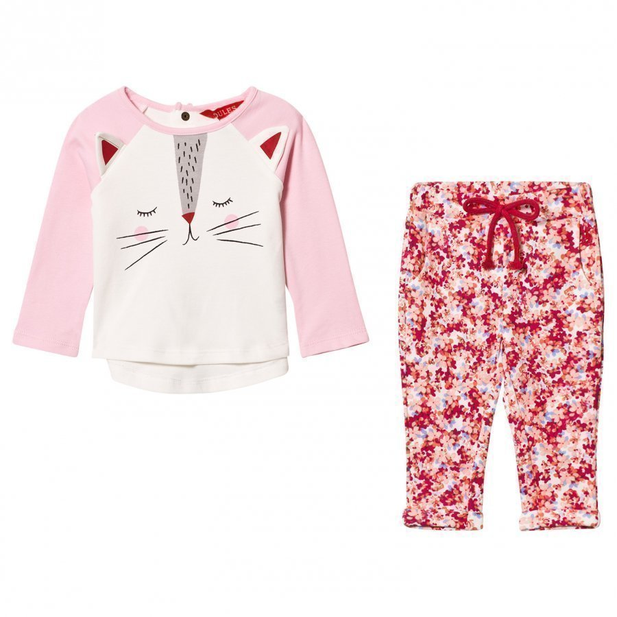 Tom Joule Pink Cat Face Tee And Floral Leggings Set Asusetti