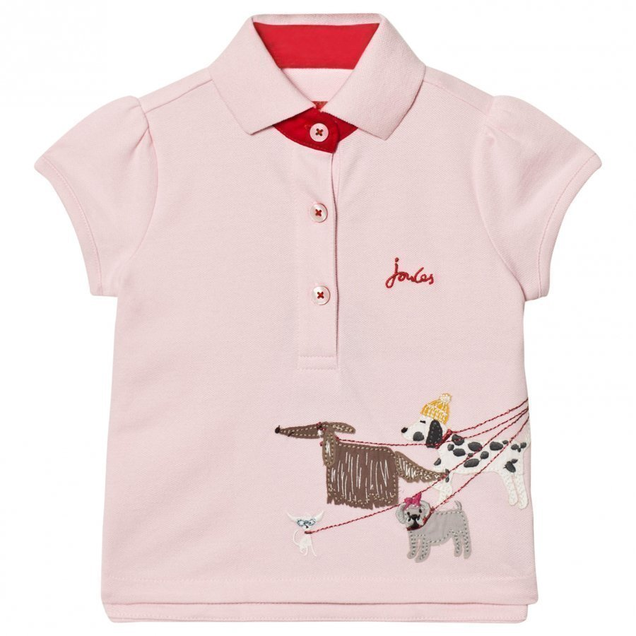 Tom Joule Pink Pique Polo With Walking Dogs Applique Pikeepaita