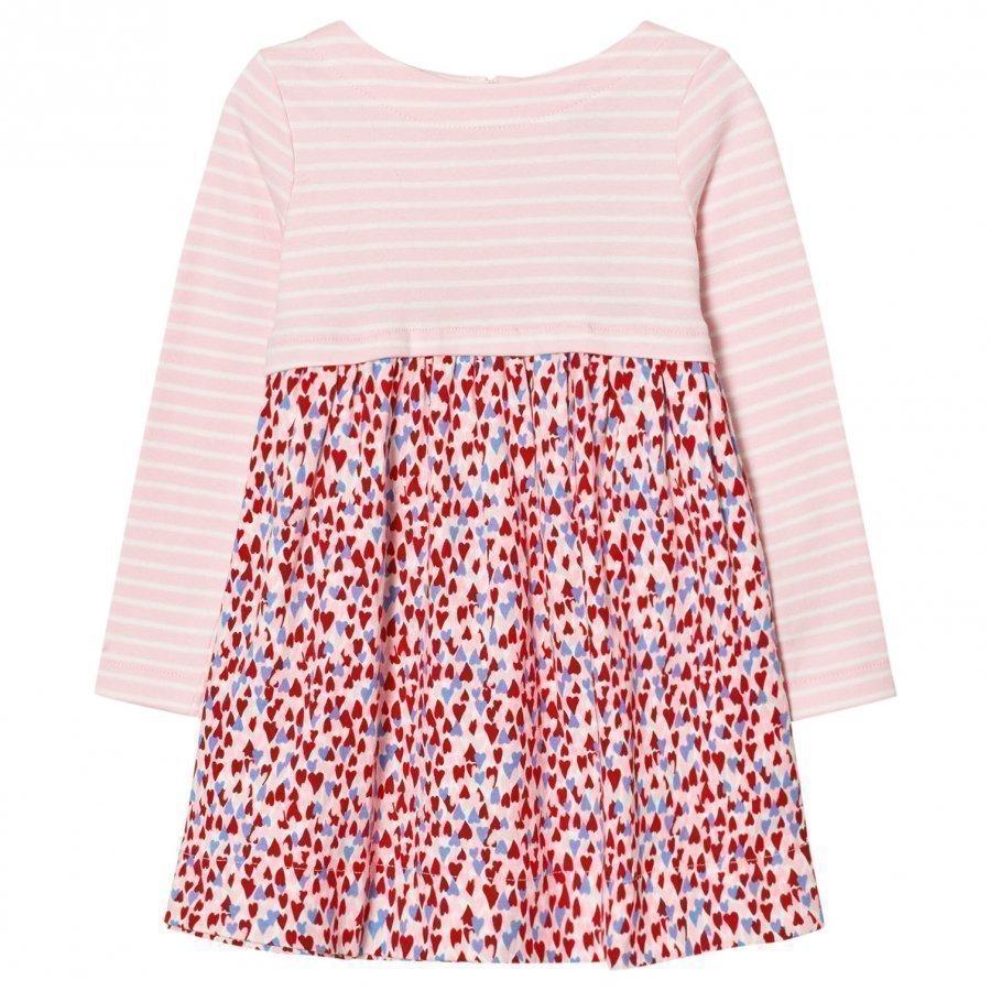 Tom Joule Pink Stripe And Heart Print Jersey Dress Mekko