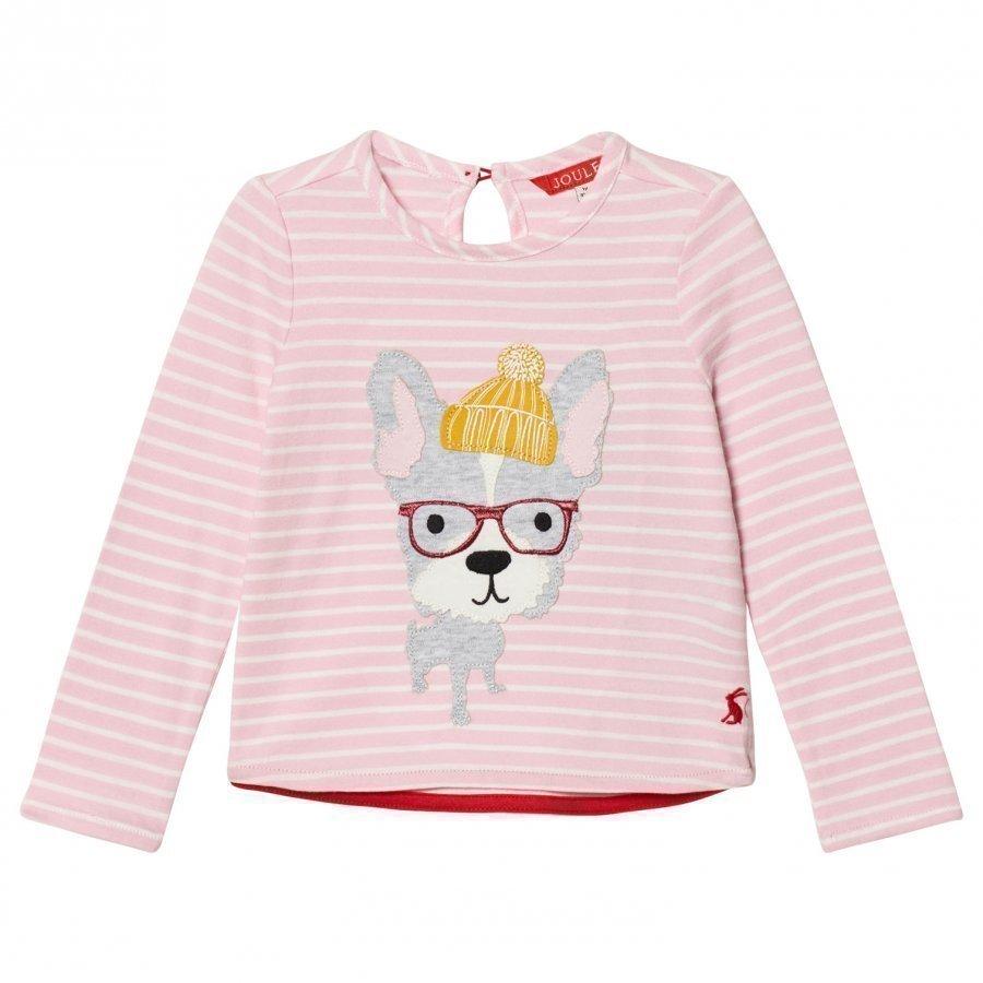 Tom Joule Pink Stripe Hipster Dog Applique Tee Pitkähihainen T-Paita
