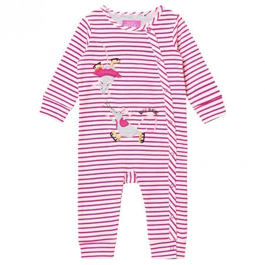 Tom Joule Pink Stripe Skating Mice Applique Footless Babygrow Body