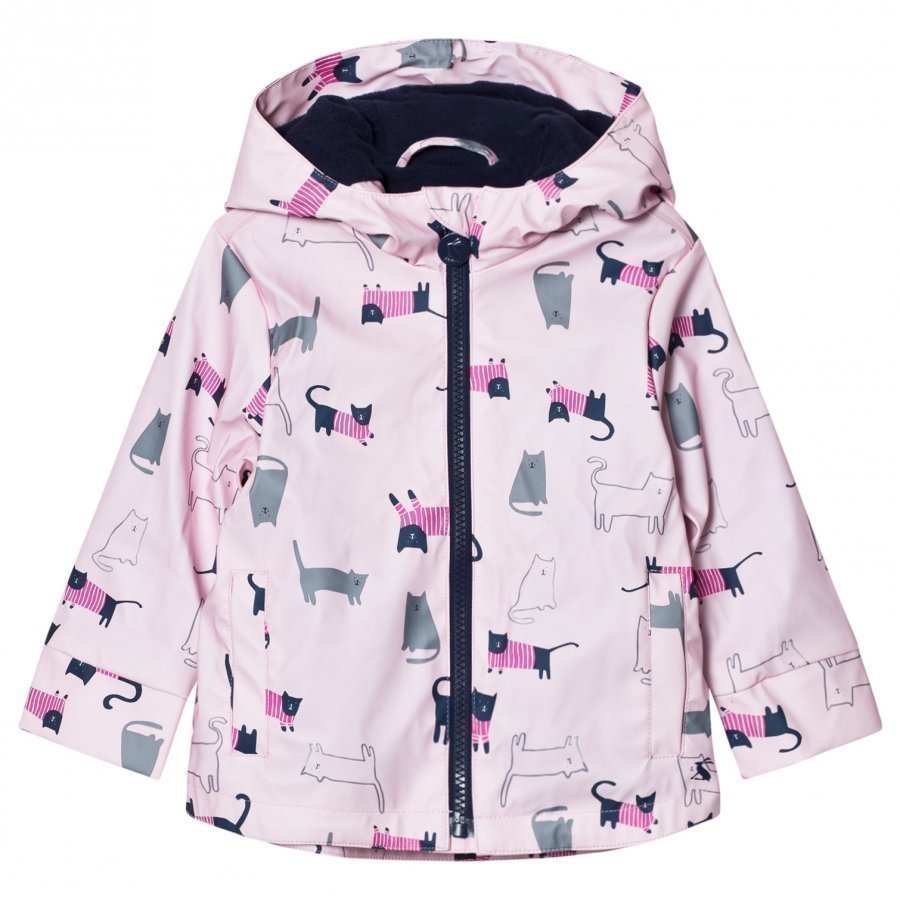 Tom Joule Raindance Waterproof Rubber Raincoat Pink Multi Cat Sadetakki