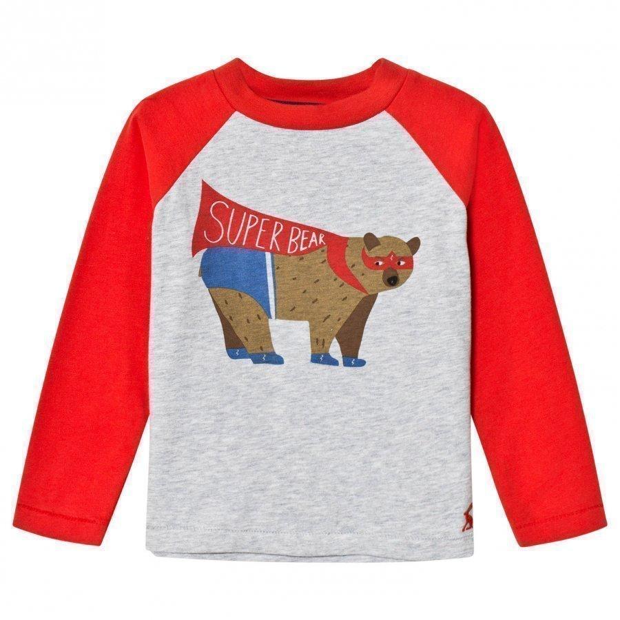 Tom Joule Red/Grey Super Bear Print Tee Pitkähihainen T-Paita