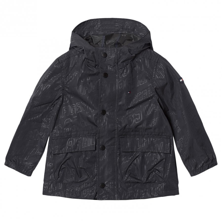 Tommy Hilfiger Black All Over Print Hooded Raincoat Sadetakki