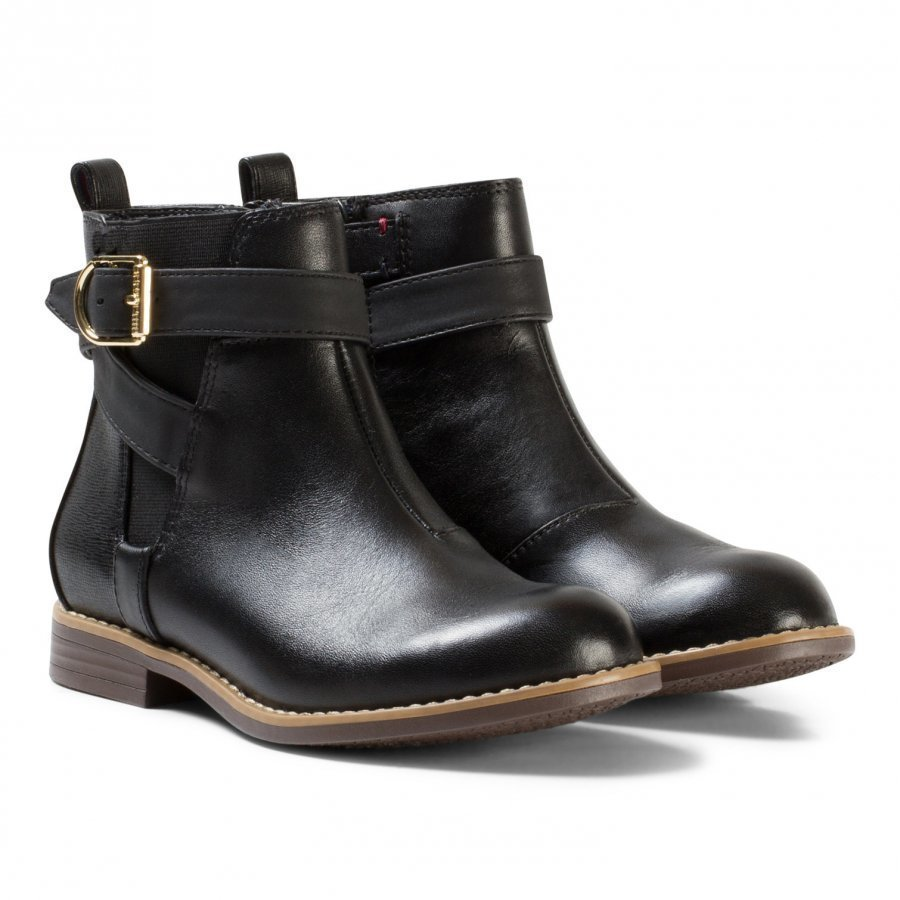 Tommy Hilfiger Black Aubrey Leather Ankle Boots Nilkkurit
