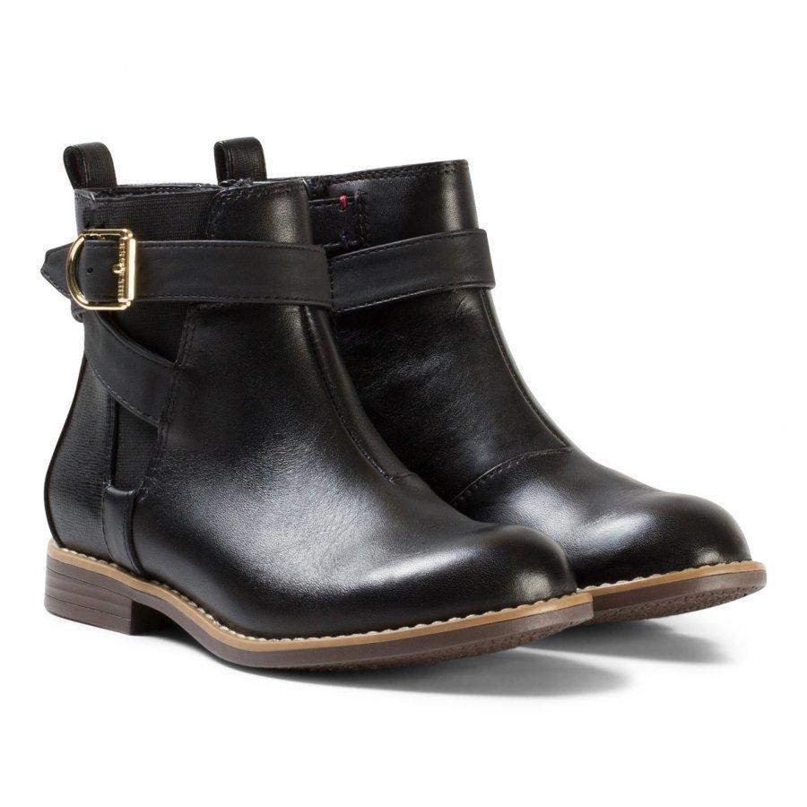 Tommy Hilfiger Black Aubrey Leather Ankle Boots Nilkkurit