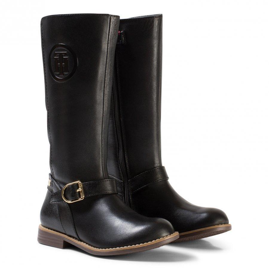 Tommy Hilfiger Black Aubrey Leather Tall Boots Korkeavartiset Saappaat