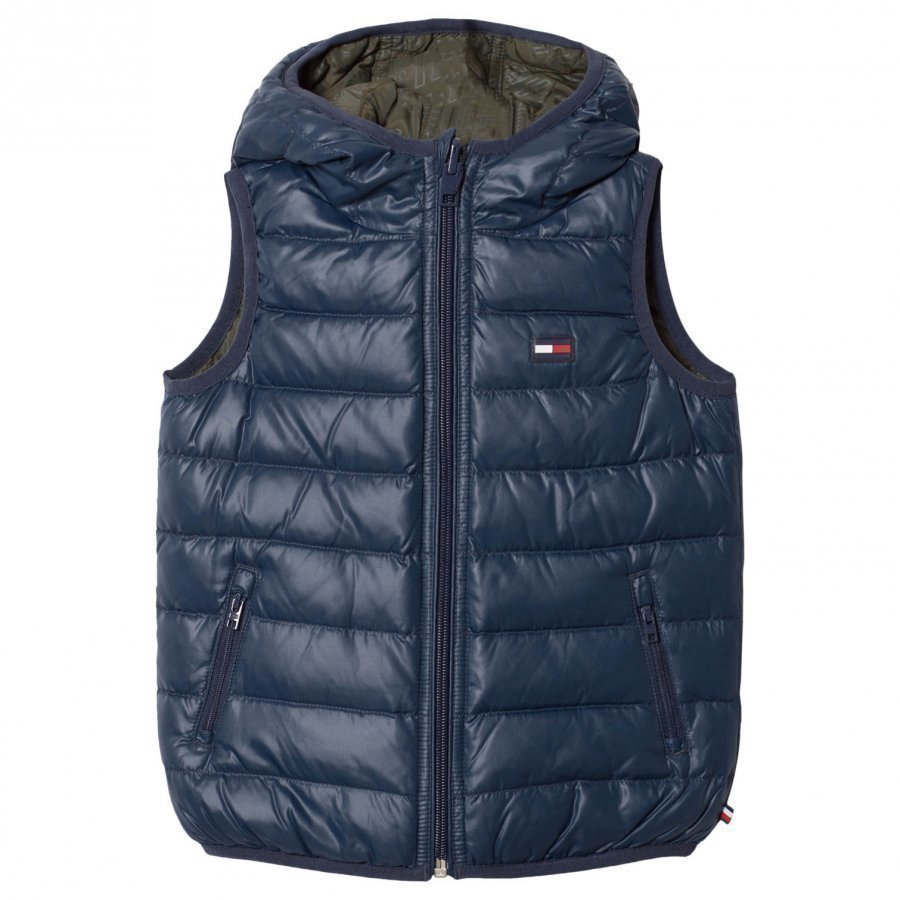 Tommy Hilfiger Blue Reversible Into Khaki Down Gilet Toppaliivi