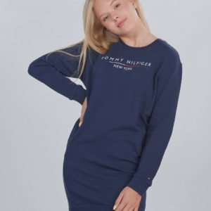 Tommy Hilfiger Crew Sweatshirt Dress Mekko Sininen