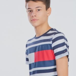 Tommy Hilfiger Cut & Sew Stripe Tee T-Paita Sininen