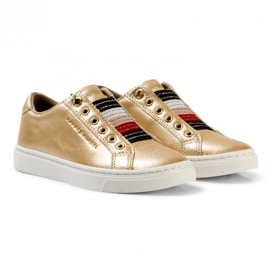 Tommy Hilfiger Gold Metallic And Glitter Slip On Trainers Lenkkarit