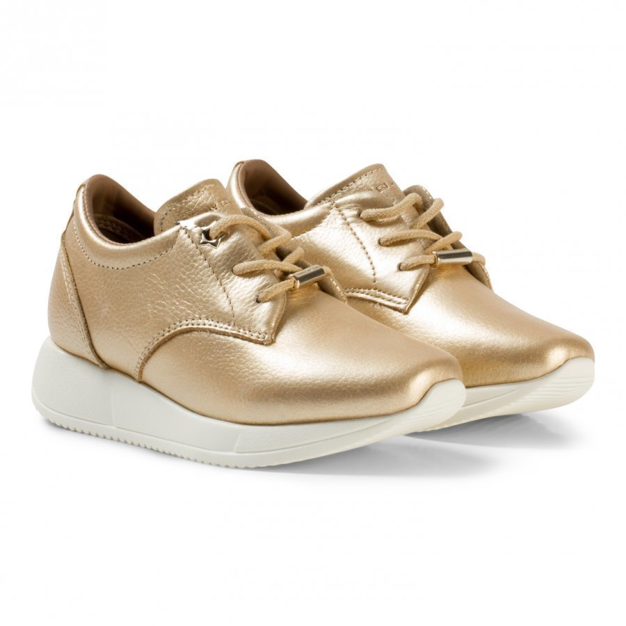 Tommy Hilfiger Gold Metallic Wedge Trainers Lenkkarit