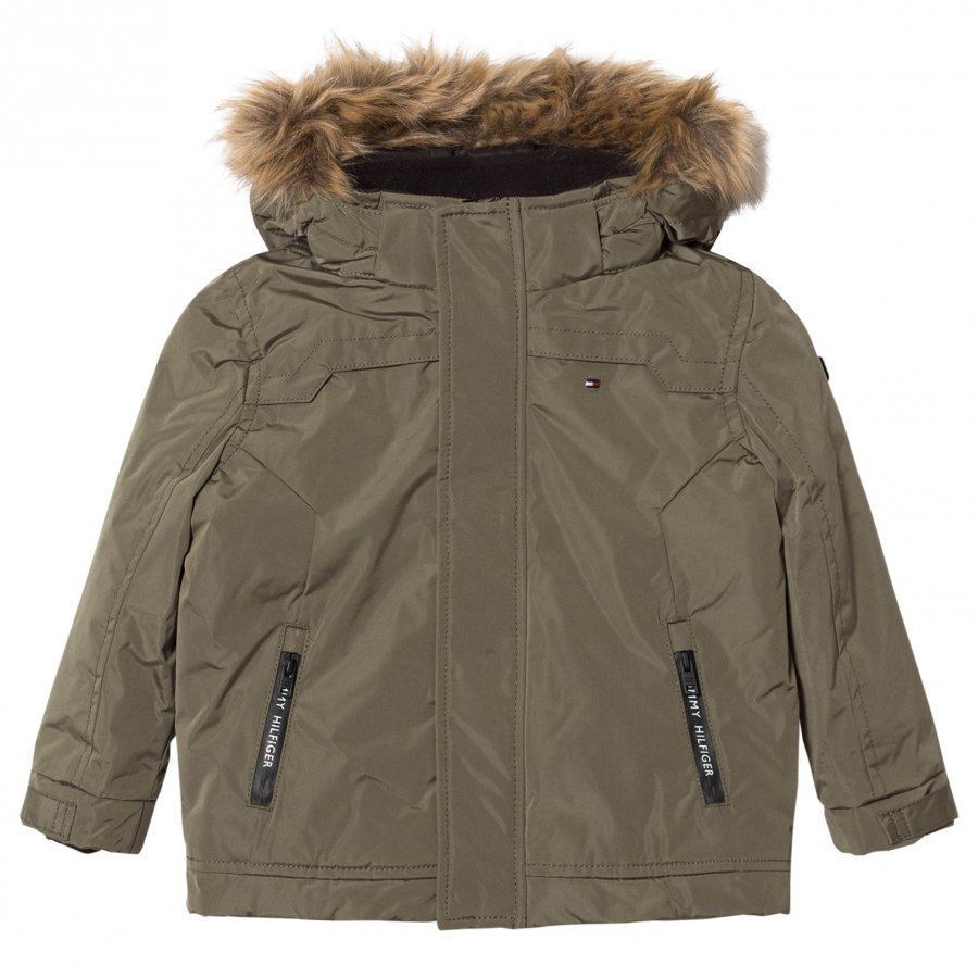 Tommy Hilfiger Khaki Paddeed Hooded Jacket Toppatakki