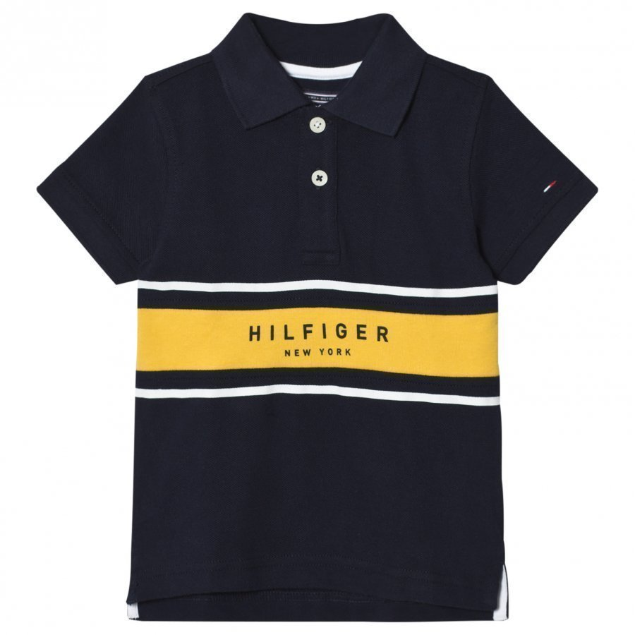 Tommy Hilfiger Navy And Yellow Branded Polo Pikeepaita