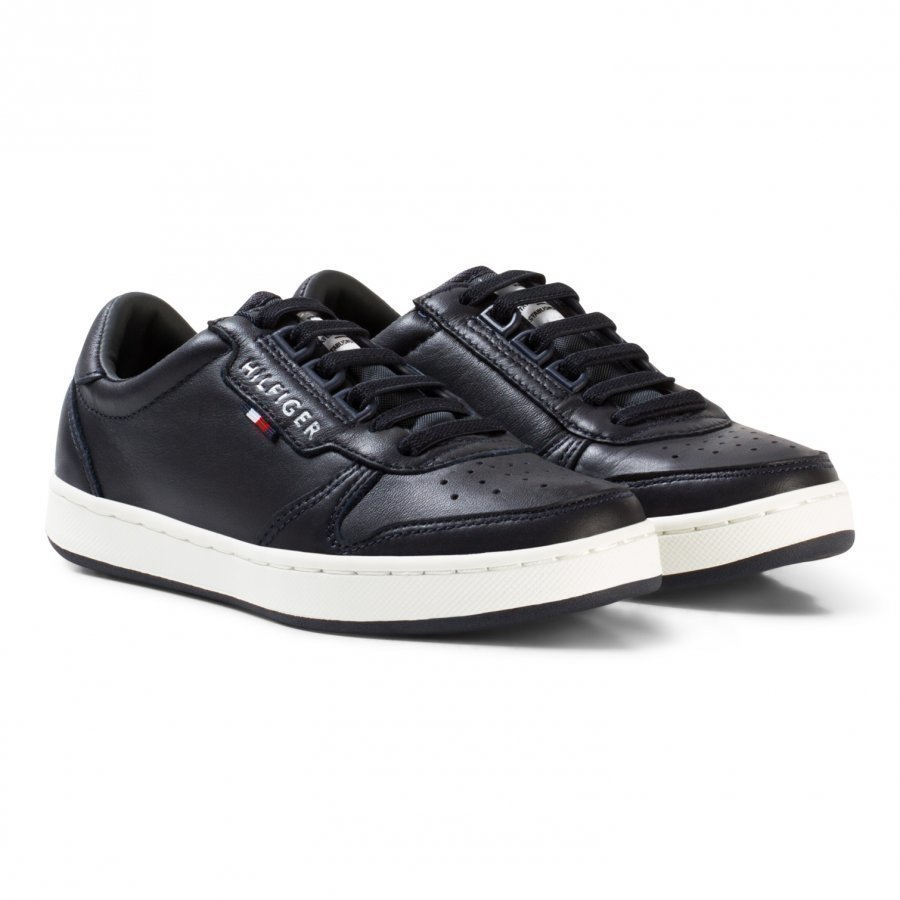Tommy Hilfiger Navy Branded Lace Leather High Top Trainers Korkeavartiset Kengät