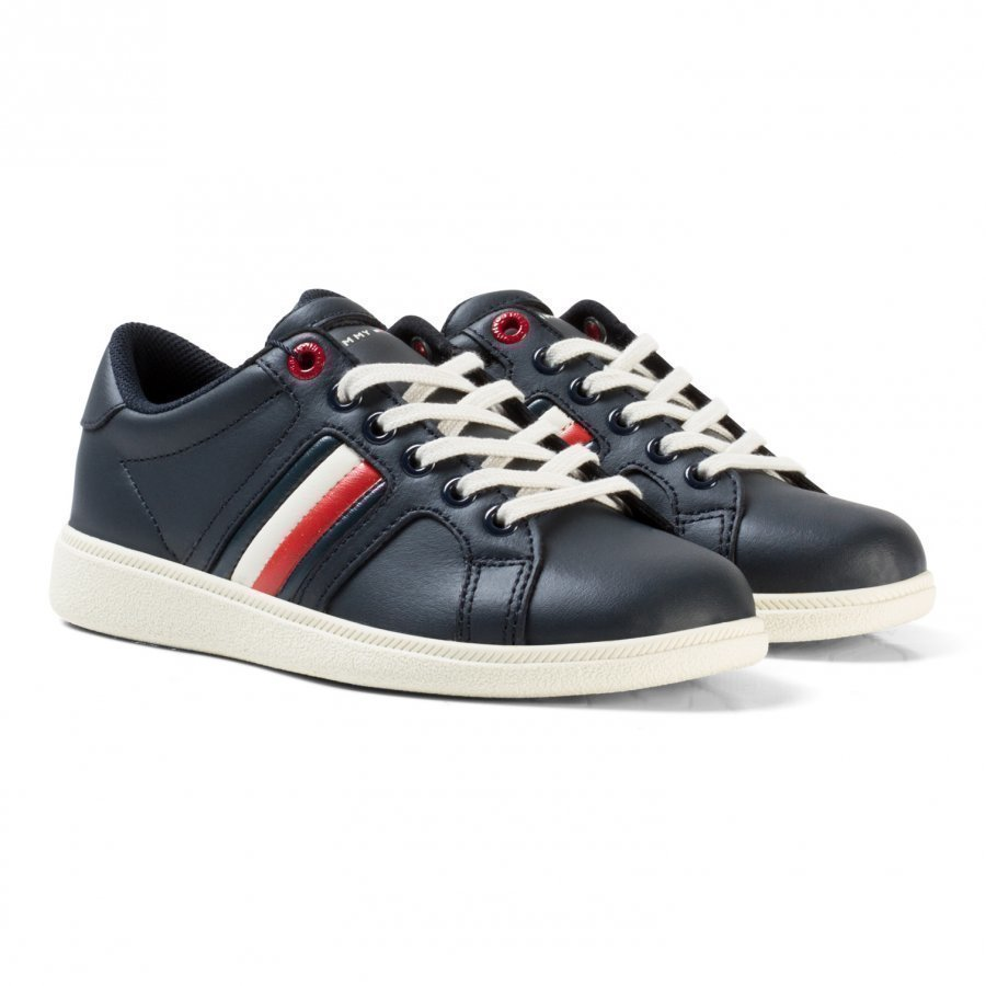 Tommy Hilfiger Navy Branded Leather Lace Trainers Lenkkarit