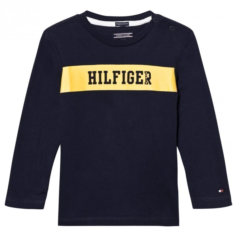 Tommy Hilfiger Navy Branded Long Sleeve Tee T-Paita
