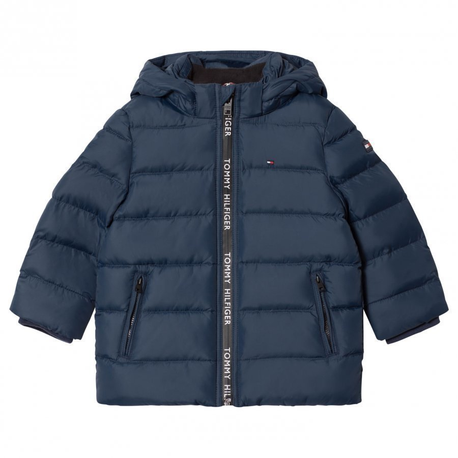 Tommy Hilfiger Navy Down Hooded Jacket Toppatakki