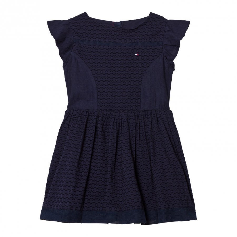 Tommy Hilfiger Navy Frill Sleeve Dress Juhlamekko