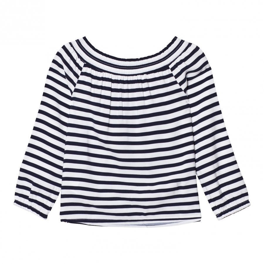 Tommy Hilfiger Navy Off The Shoulder Top T-Paita