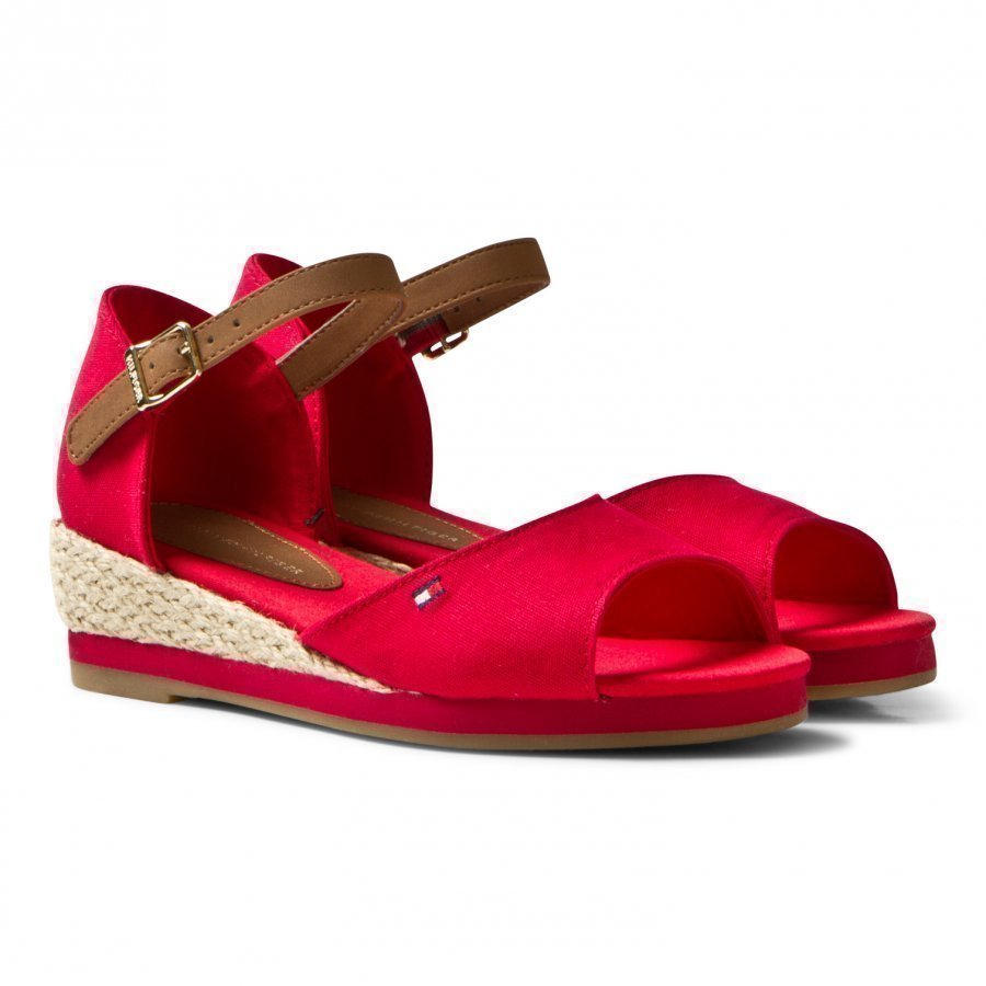 Tommy Hilfiger Red Branded Canvas Wedge Sandals Remmisandaalit