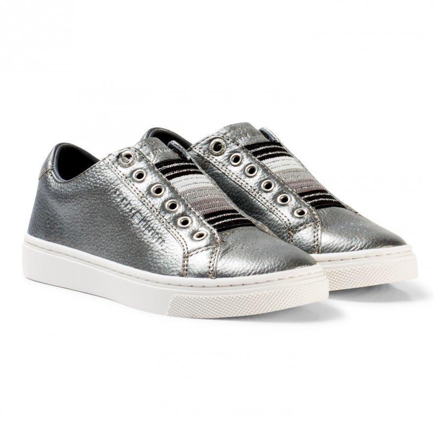 Tommy Hilfiger Silver Metallic And Glitter Slip On Trainers Lenkkarit