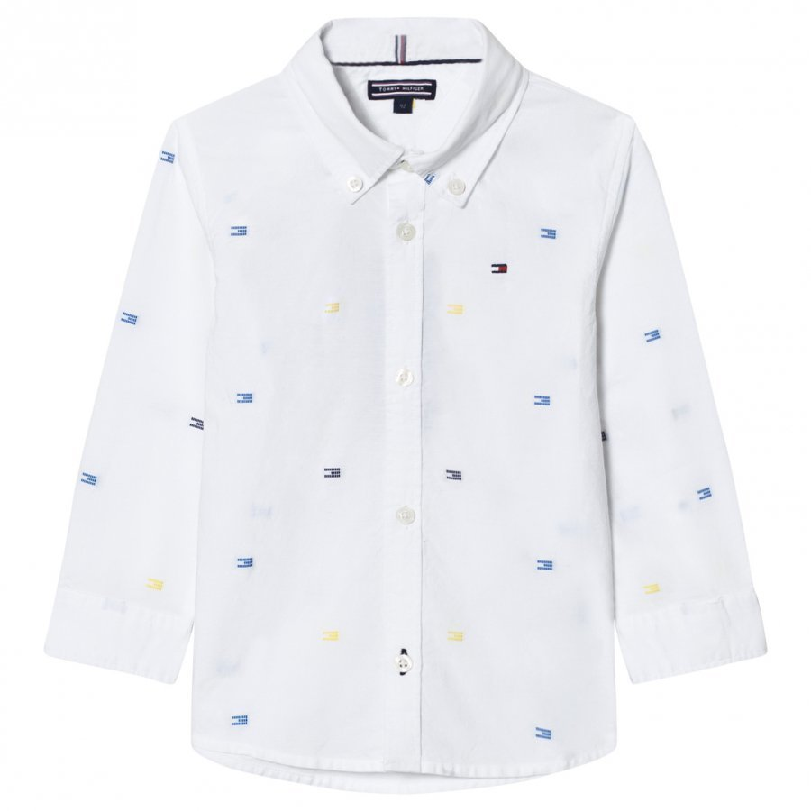 Tommy Hilfiger White All Over Flag Print Shirt Kauluspaita