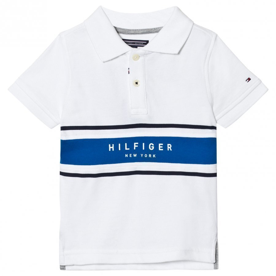 Tommy Hilfiger White And Blue Branded Polo Pikeepaita