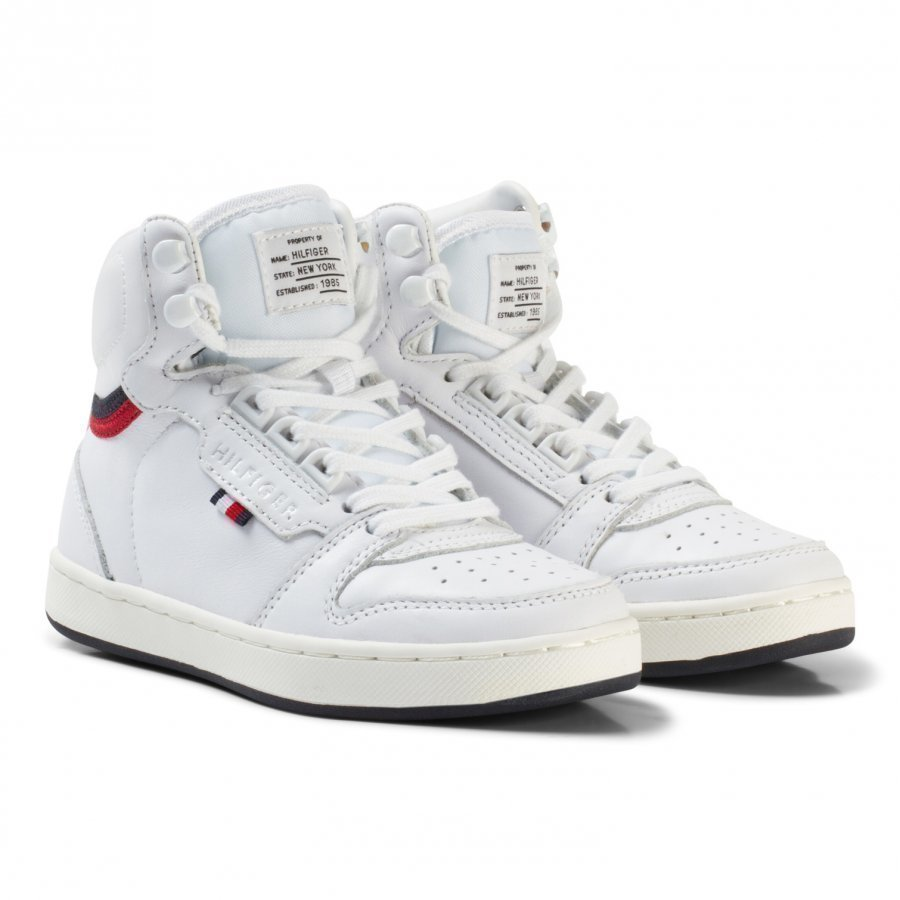 Tommy Hilfiger White Branded Lace Leather High Top Trainers Korkeavartiset Kengät
