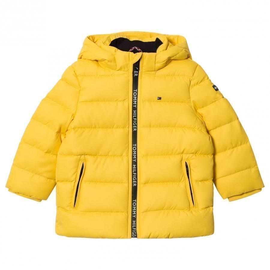 Tommy Hilfiger Yellow Down Hooded Jacket Toppatakki
