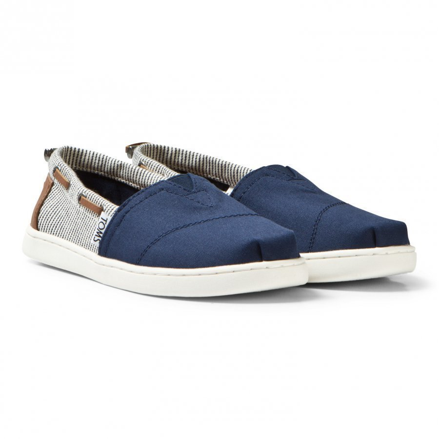 Toms Navy Canvas & Stripe Youth Biminis Espadrillot