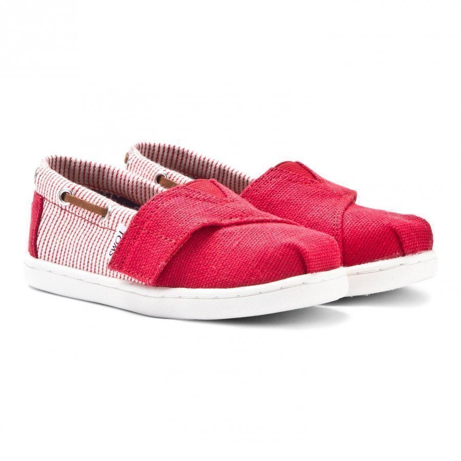 Toms Red Burlap & Stripe Tiny Toms Biminis Slip On Kengät