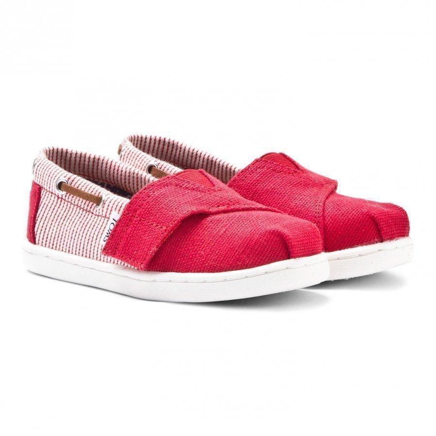 Toms Red Burlap & Stripe Tiny Toms Biminis Slip On Kengät