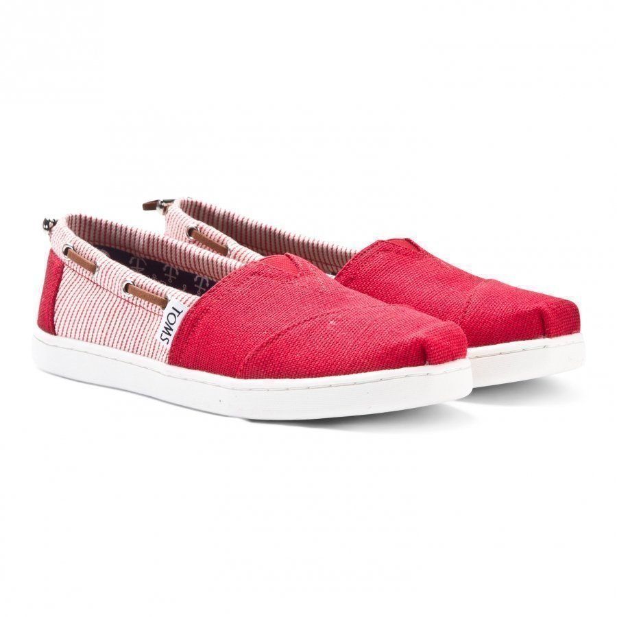 Toms Red Burlap & Stripe Youth Biminis Slip On Kengät