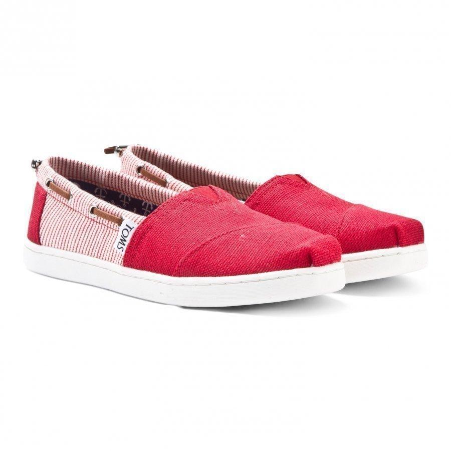 Toms Red Burlap & Stripe Youth Biminis Slip On Kengät