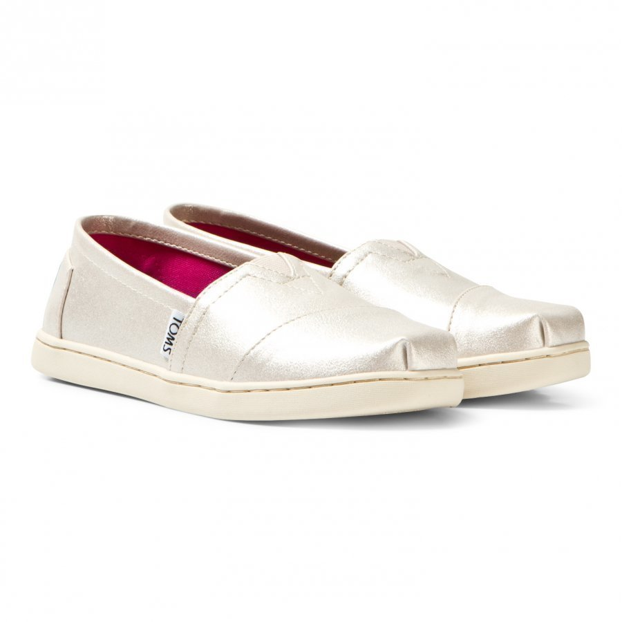 Toms White Gold Metallic Synthetic Leather Youth Classics Espadrillot