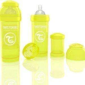 Twistshake Tuttipullo Antikoliikki 260 ml Keltainen