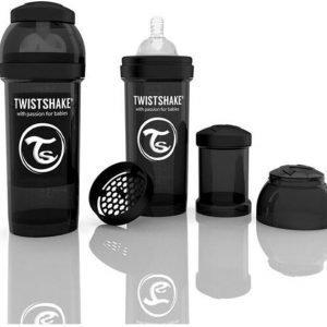 Twistshake Tuttipullo Antikoliikki 260 ml Musta