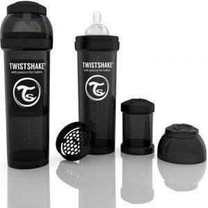 Twistshake Tuttipullo Antikoliikki 330 ml Musta