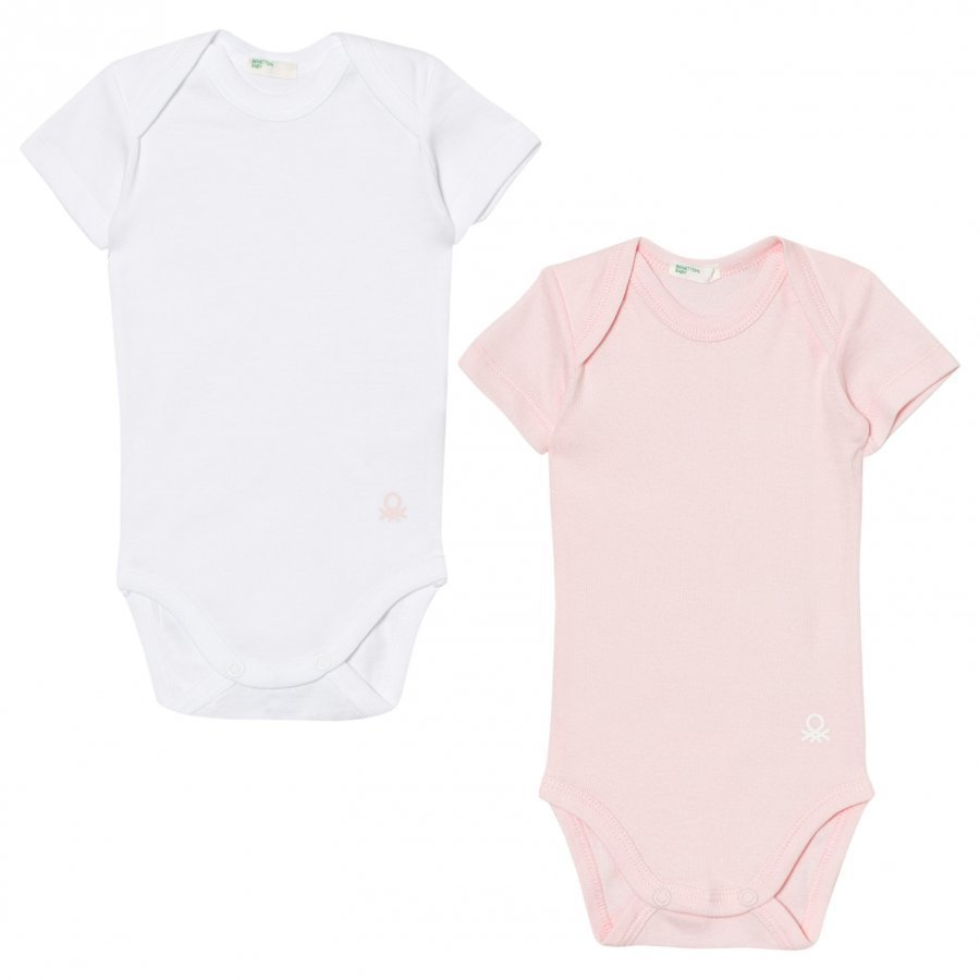 United Colors Of Benetton 2-Pack Short Sleeved Baby Body White/Pink Body